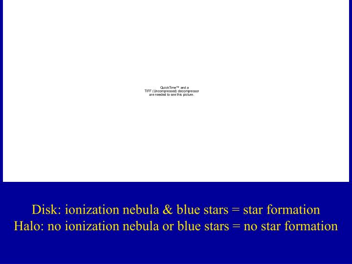 Disk: ionization nebula & blue stars = star formation