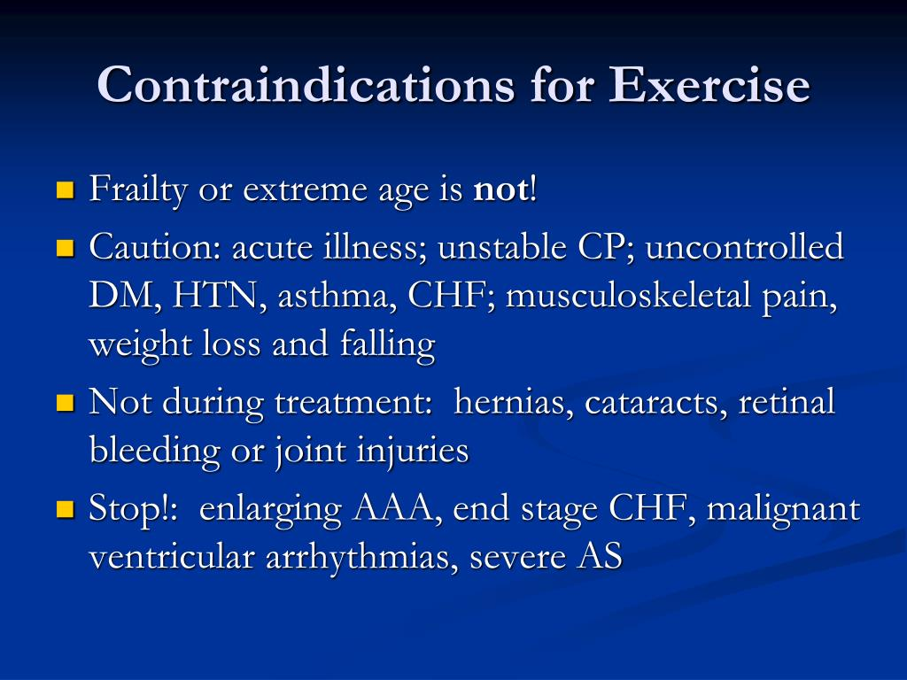 Contraindications for Exercise