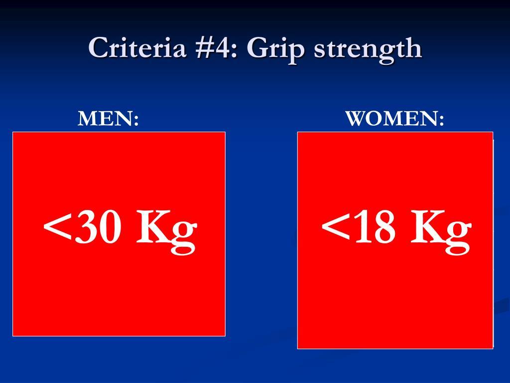 Criteria #4: Grip strength