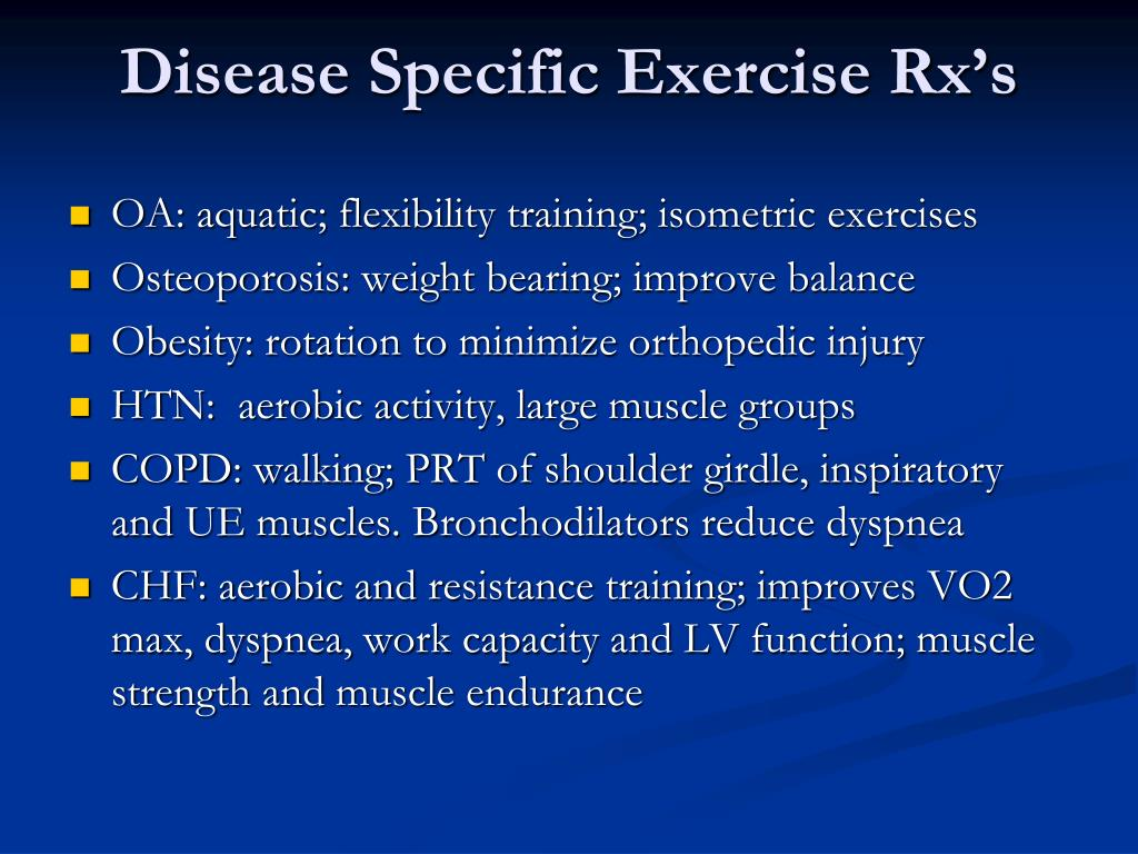 Disease Specific Exercise Rx's
