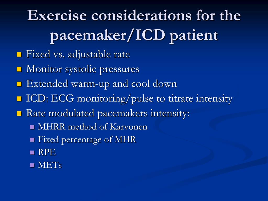Exercise considerations for the pacemaker/ICD patient