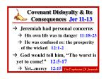covenant disloyalty its consequences jer 11 1321