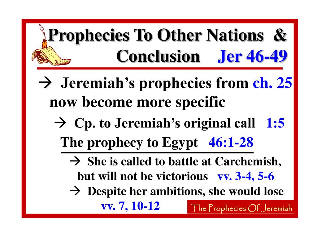 The prophecy to Egypt