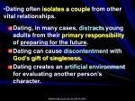 dating often isolates a couple from other vital relationships
