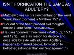 isn t fornication the same as adultery