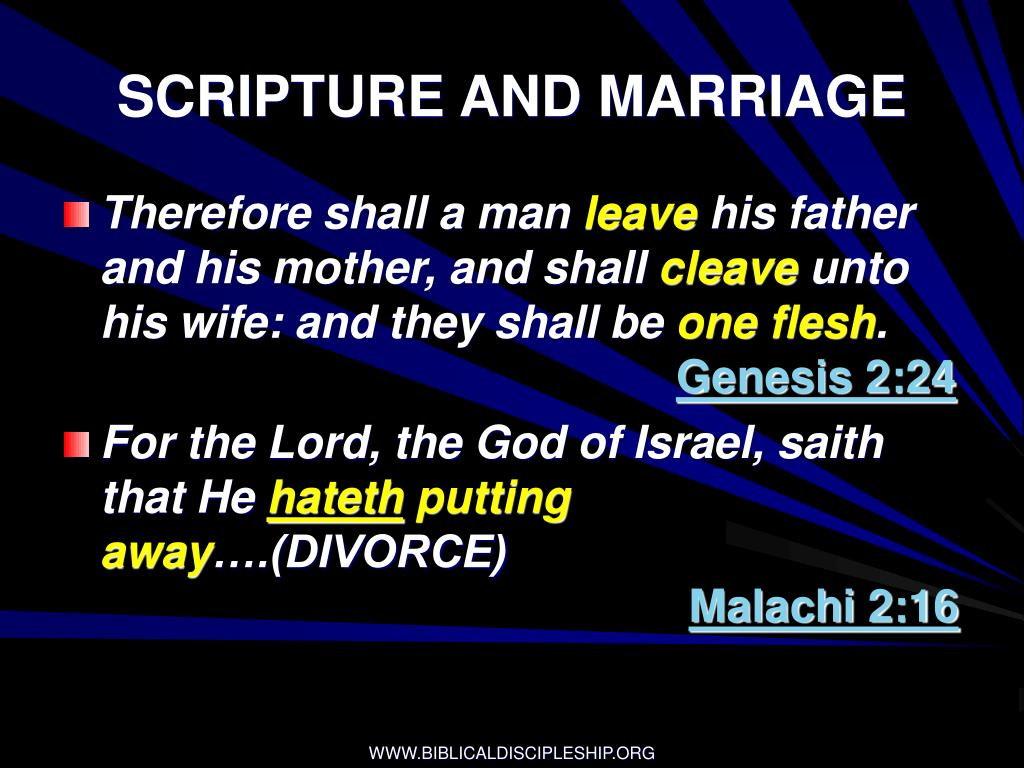 SCRIPTURE AND MARRIAGE