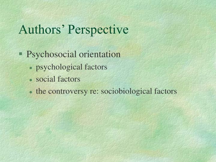 Authors' Perspective