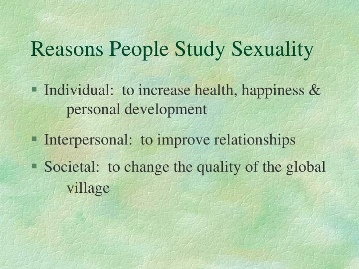 Reasons People Study Sexuality