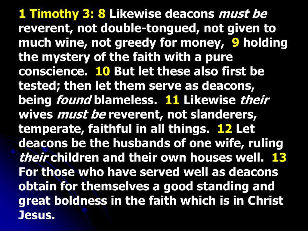 1 Timothy 3: 8