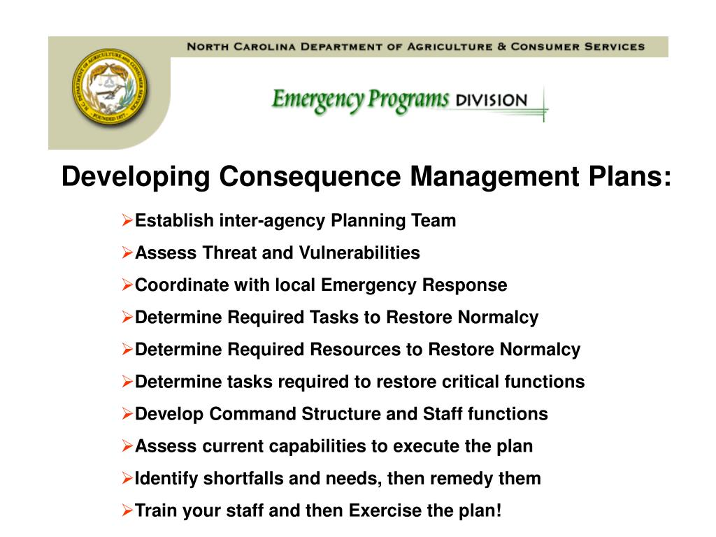 Developing Consequence Management Plans: