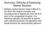 summary difficulty of assessing market situation