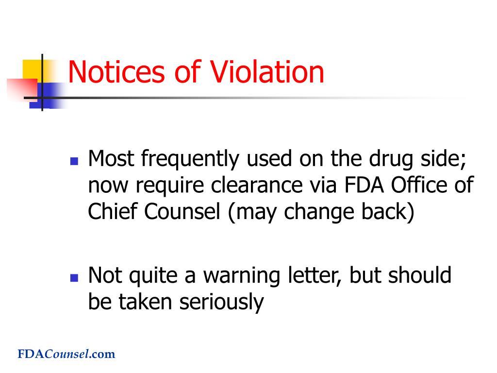 Notices of Violation