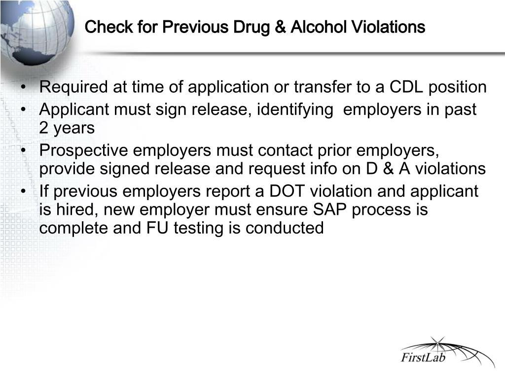 Check for Previous Drug & Alcohol Violations