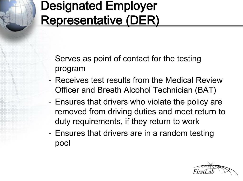 Designated Employer Representative (DER)