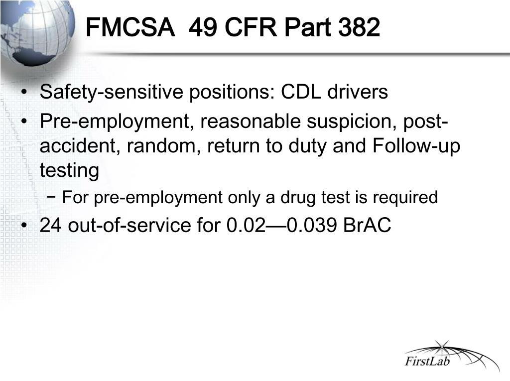 FMCSA  49 CFR Part 382