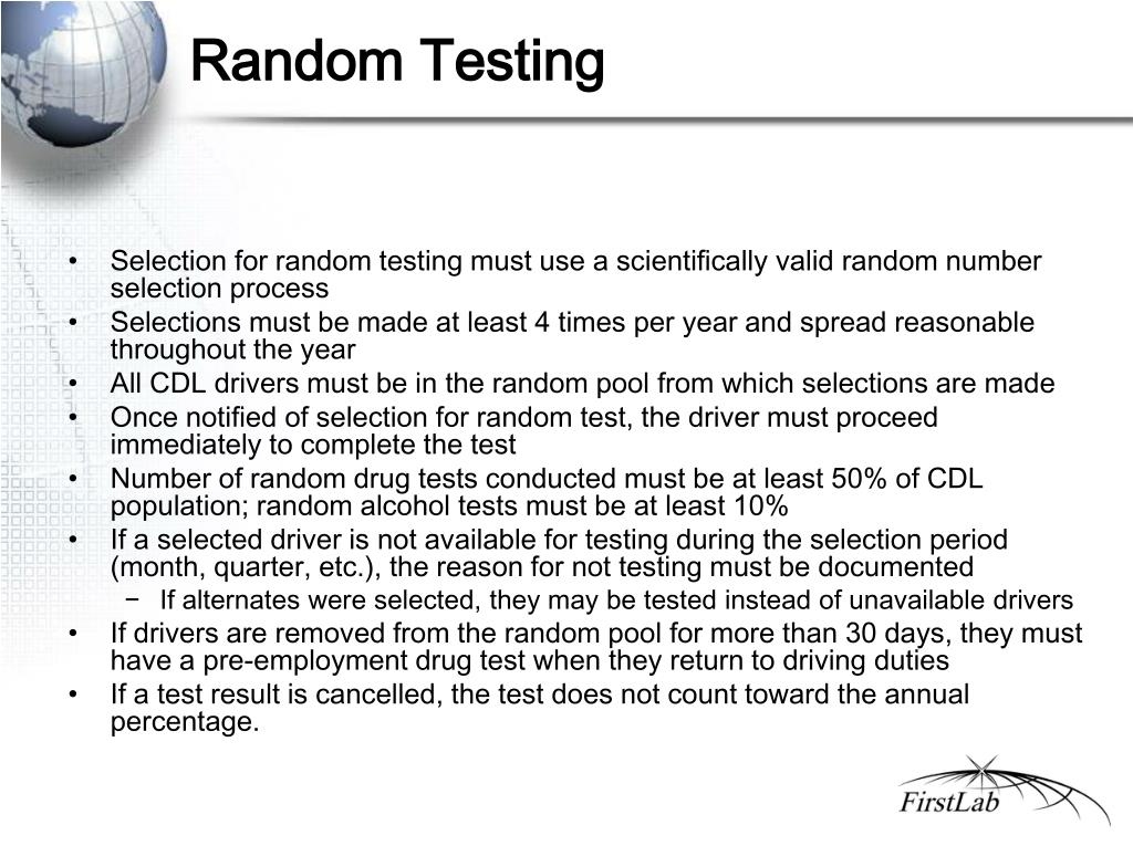 random drug testing Company dot random drug & alcohol program this package is for dot companies with 1 or more dot covered employees needing to be enrolled into a random drug and alcohol testing program.