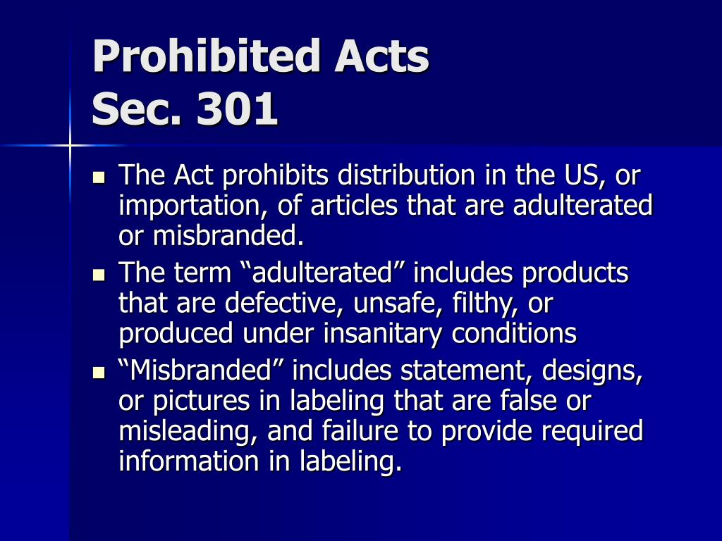 Prohibited Acts