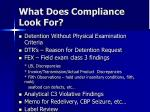 what does compliance look for
