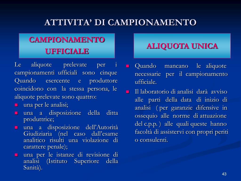 ATTIVITA' DI CAMPIONAMENTO