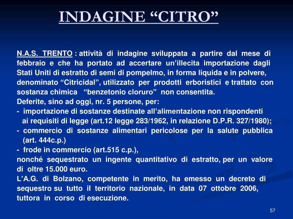 """INDAGINE """"CITRO"""""""