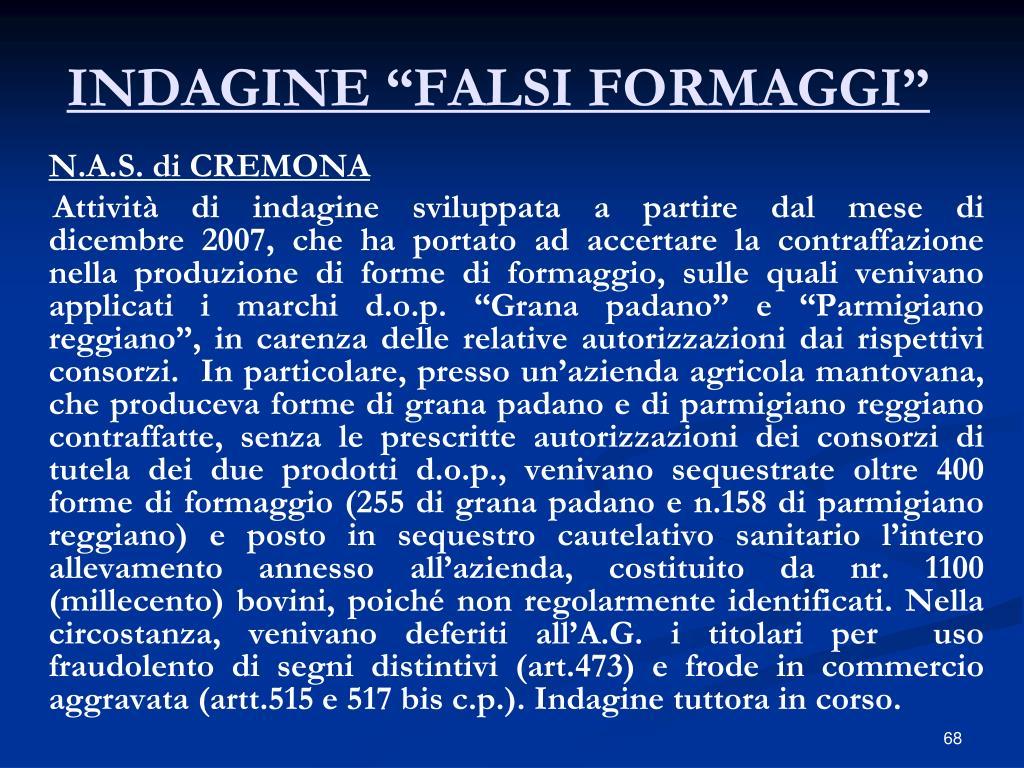 """INDAGINE """"FALSI FORMAGGI"""""""