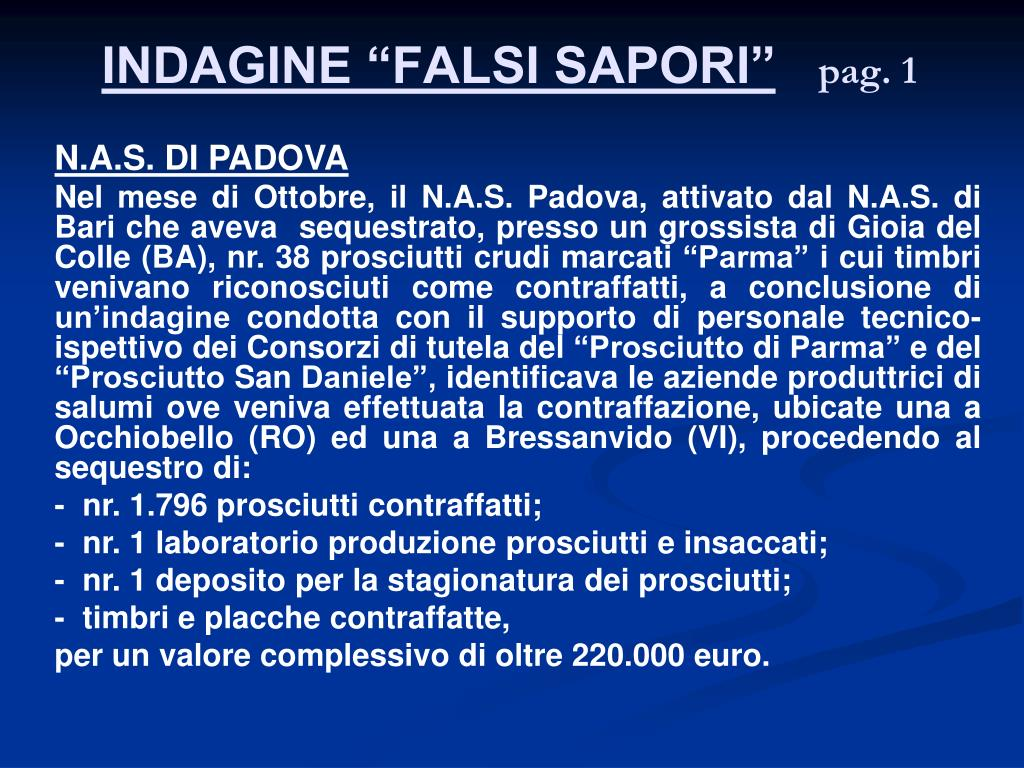 "INDAGINE ""FALSI SAPORI"""