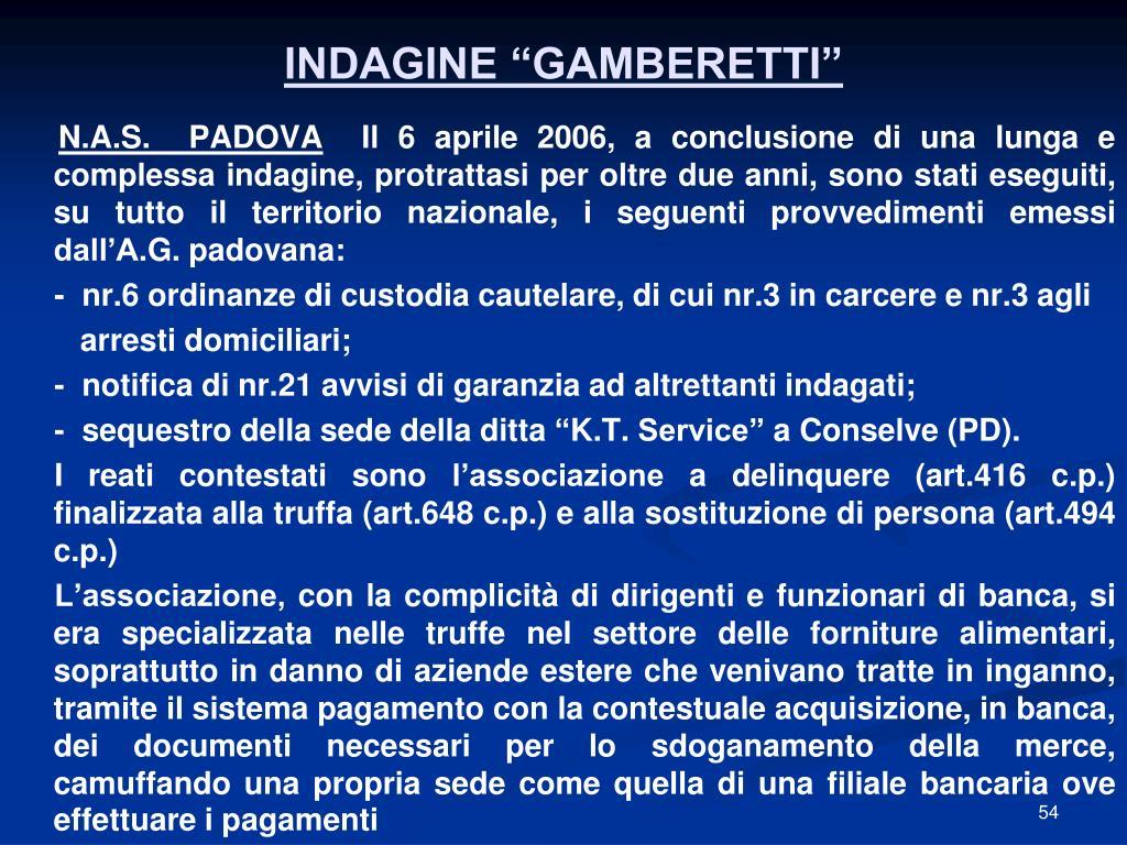"""INDAGINE """"GAMBERETTI"""""""