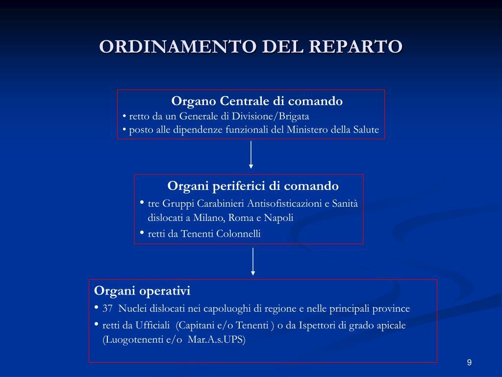 ORDINAMENTO DEL REPARTO