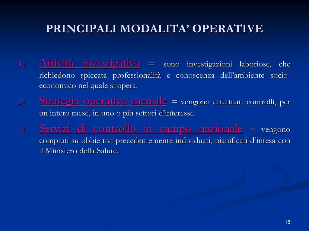PRINCIPALI MODALITA' OPERATIVE