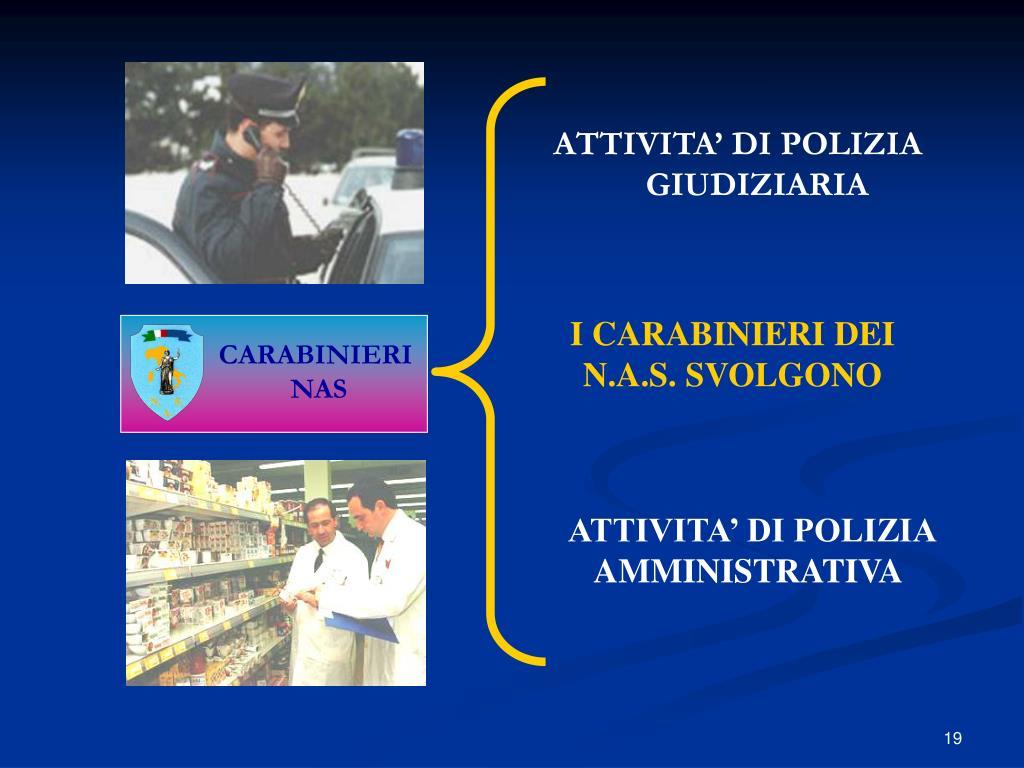 ATTIVITA' DI POLIZIA AMMINISTRATIVA