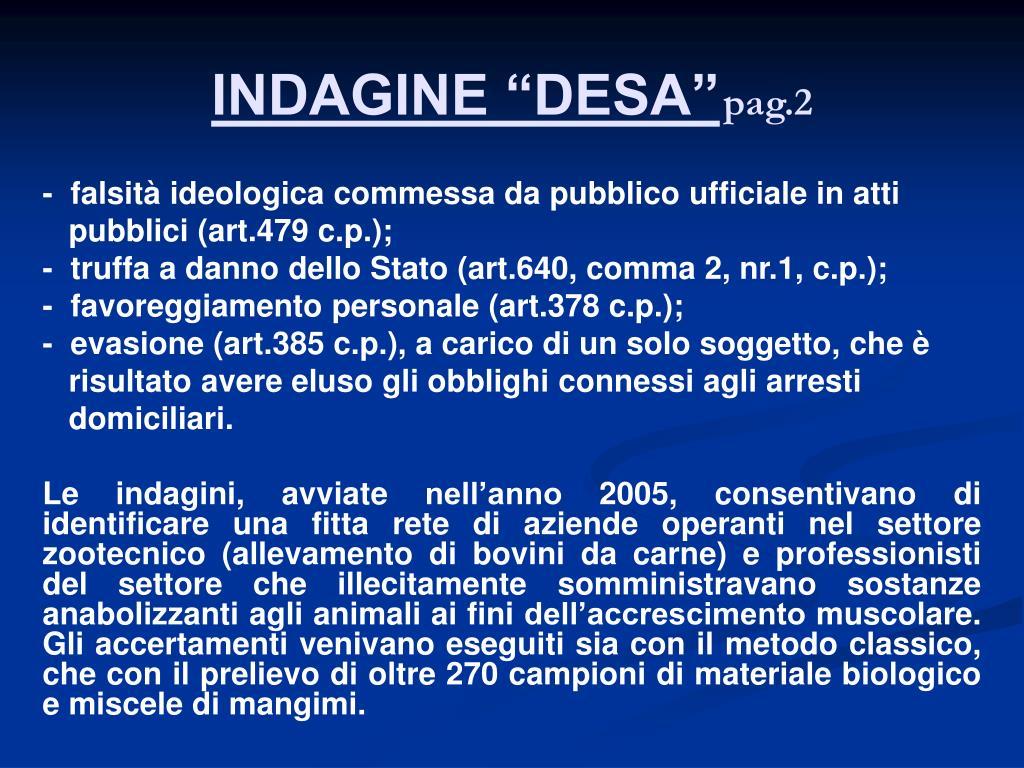 """INDAGINE """"DESA"""""""