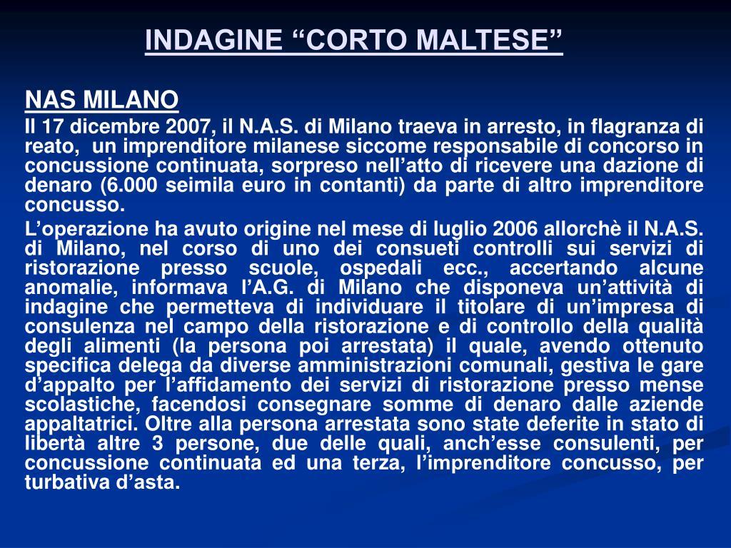 "INDAGINE ""CORTO MALTESE"""
