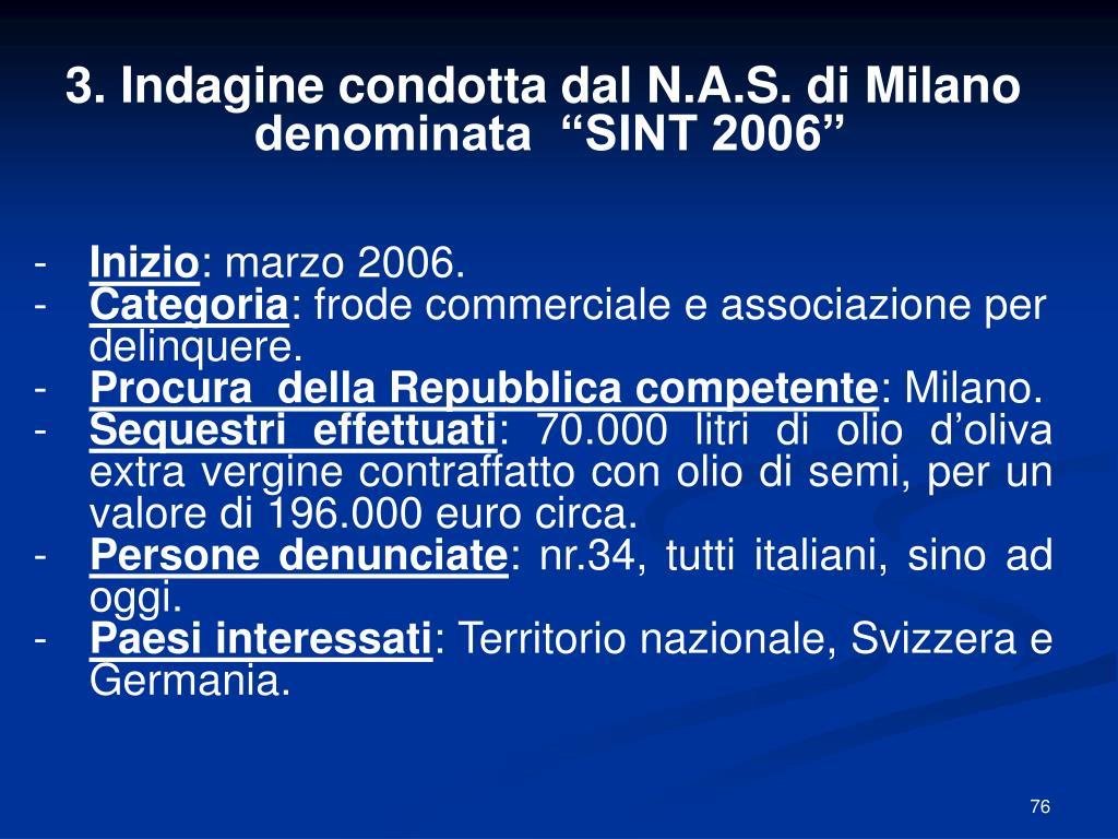 3. Indagine condotta dal N.A.S. di Milano