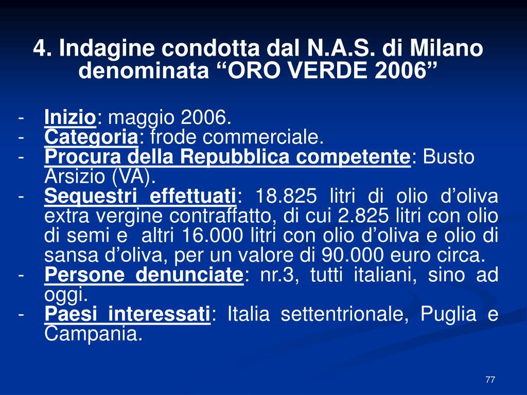 4. Indagine condotta dal N.A.S. di Milano