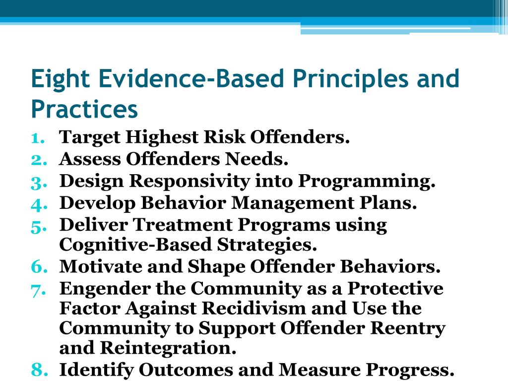 Eight Evidence-Based Principles and Practices