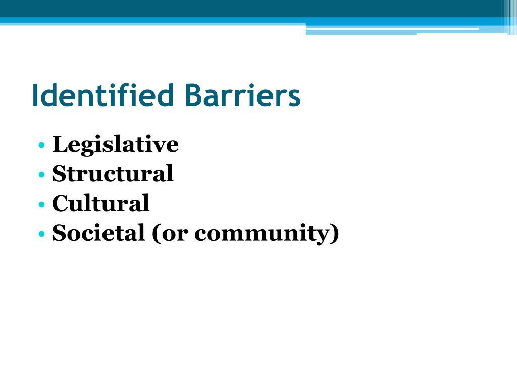 Identified Barriers