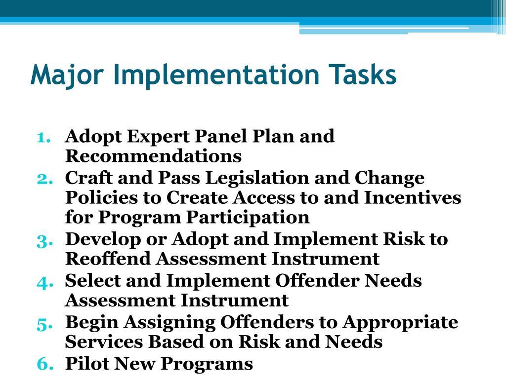 Major Implementation Tasks