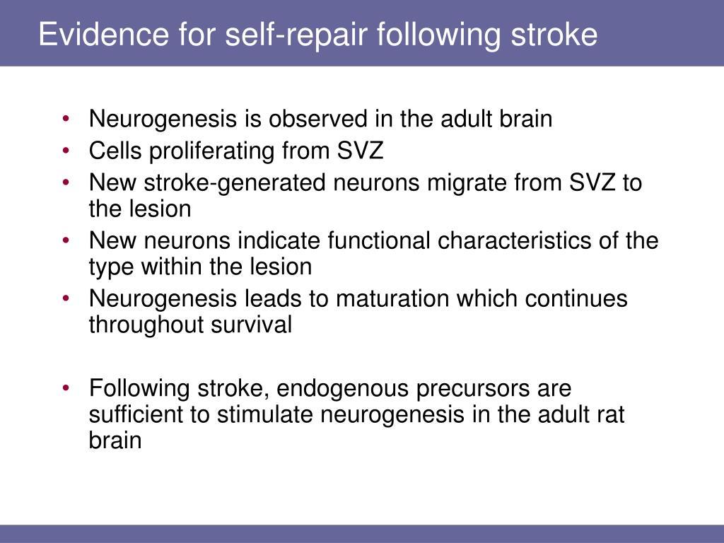 Evidence for self-repair following stroke
