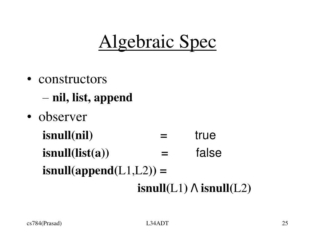 Algebraic Spec