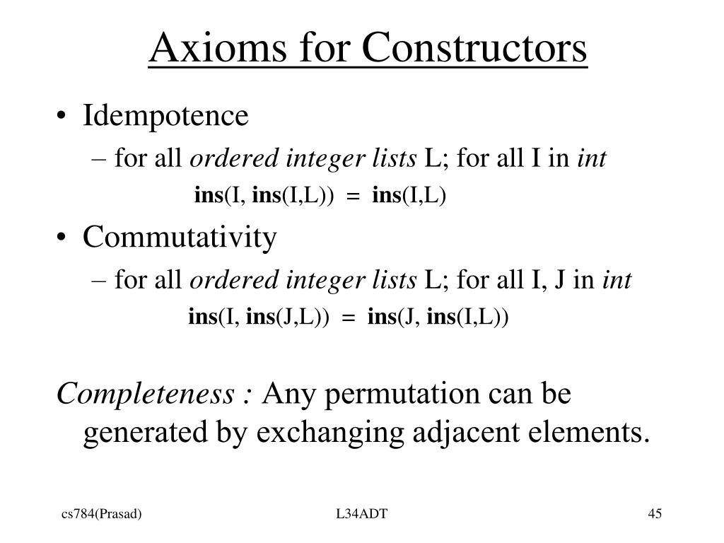 Axioms for Constructors