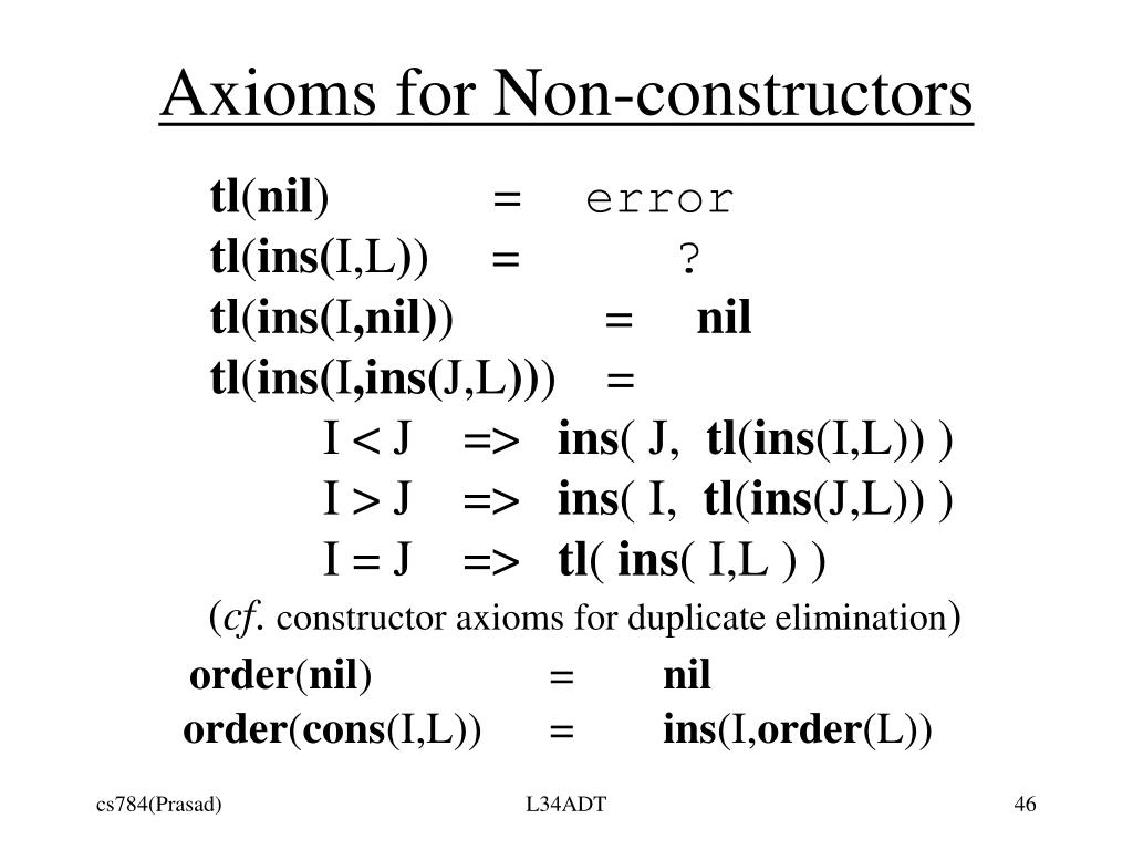 Axioms for Non-constructors