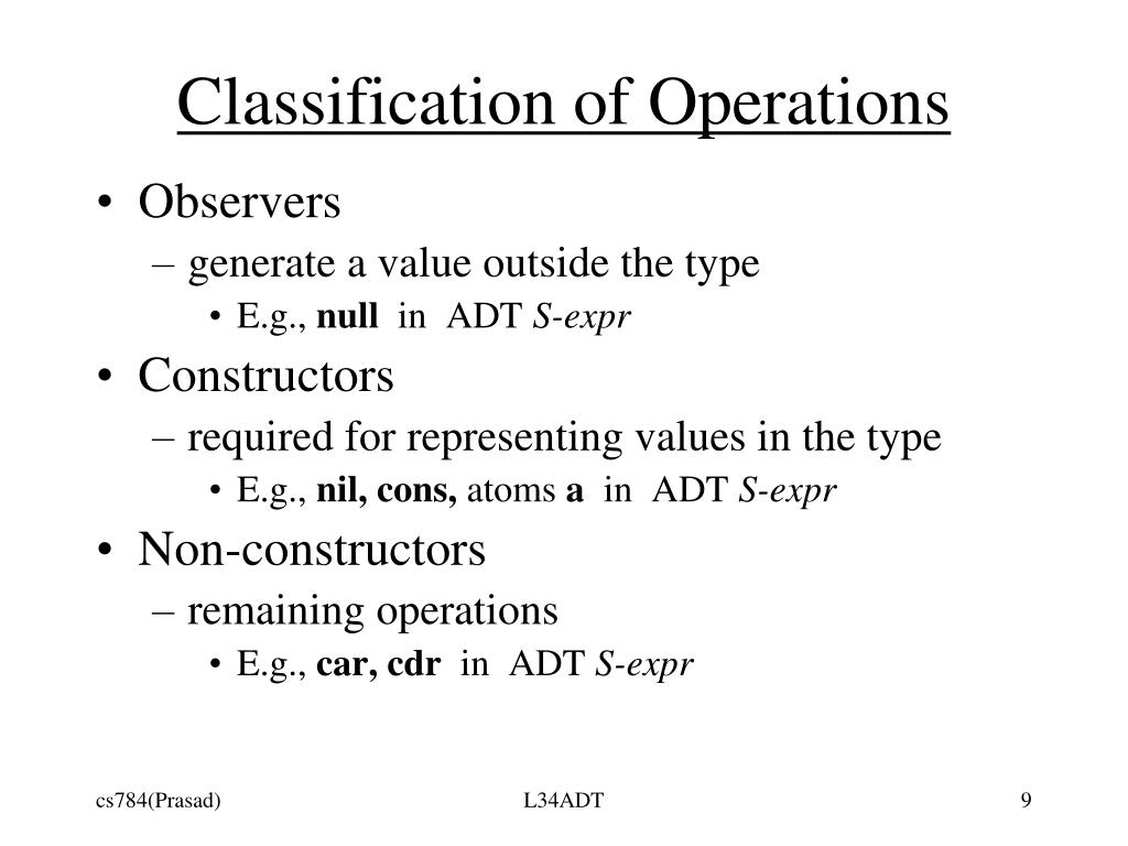 Classification of Operations