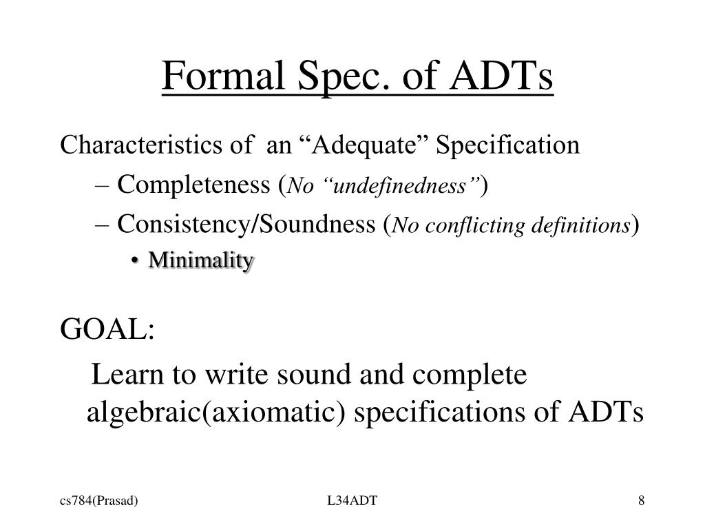 Formal Spec. of ADTs