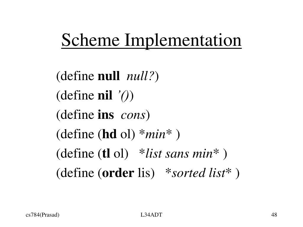 Scheme Implementation