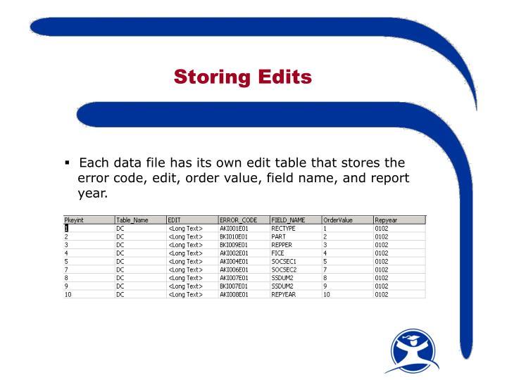 Storing Edits