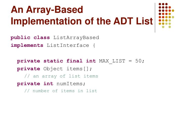 An array based implementation of the adt list l.jpg