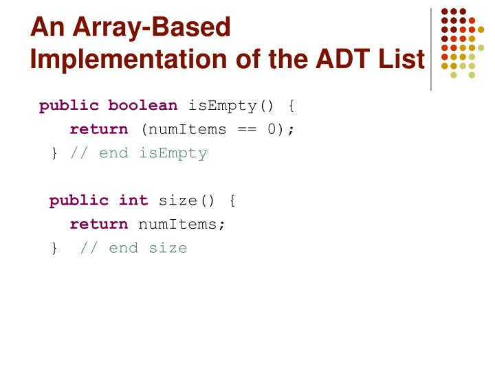 An array based implementation of the adt list3 l.jpg