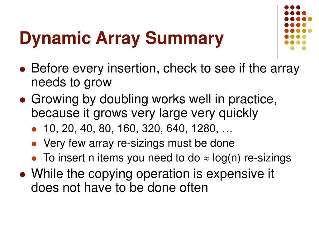 Dynamic Array Summary