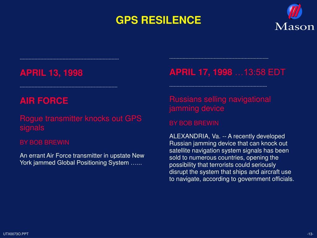 GPS RESILENCE