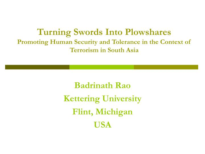 Turning Swords Into Plowshares